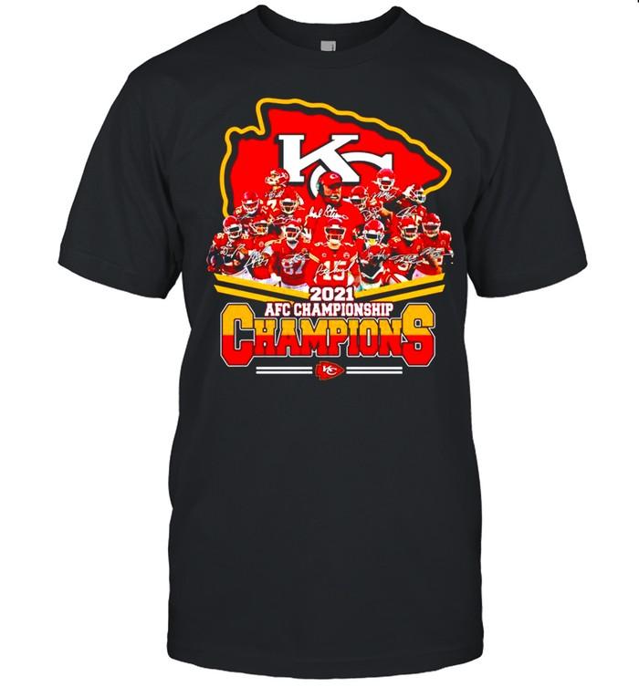 Kansas City Chiefs 2021 AFC championship Champions signatures shirt