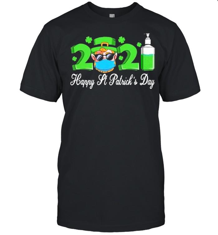 Leprechaun wearing mask happy St Patricks day 2021 men women shirt