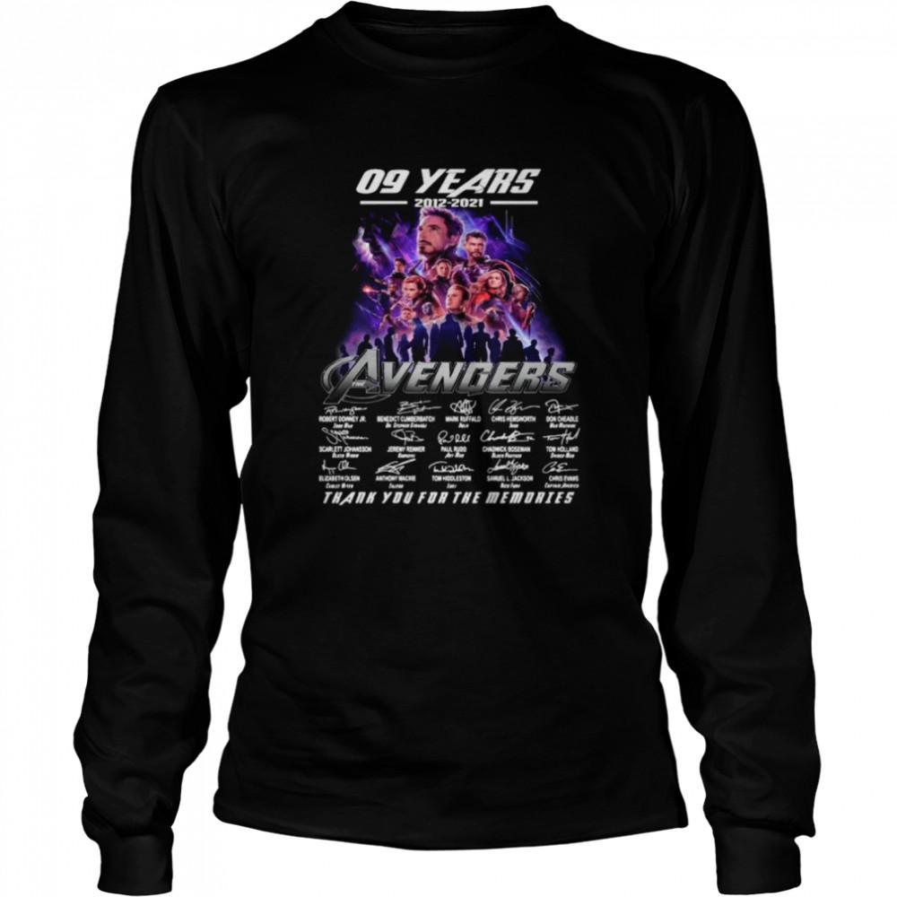 Marvel Avengers 09 Years 2012 2021 Signatures Thanks For The Memories shirt Long Sleeved T-shirt