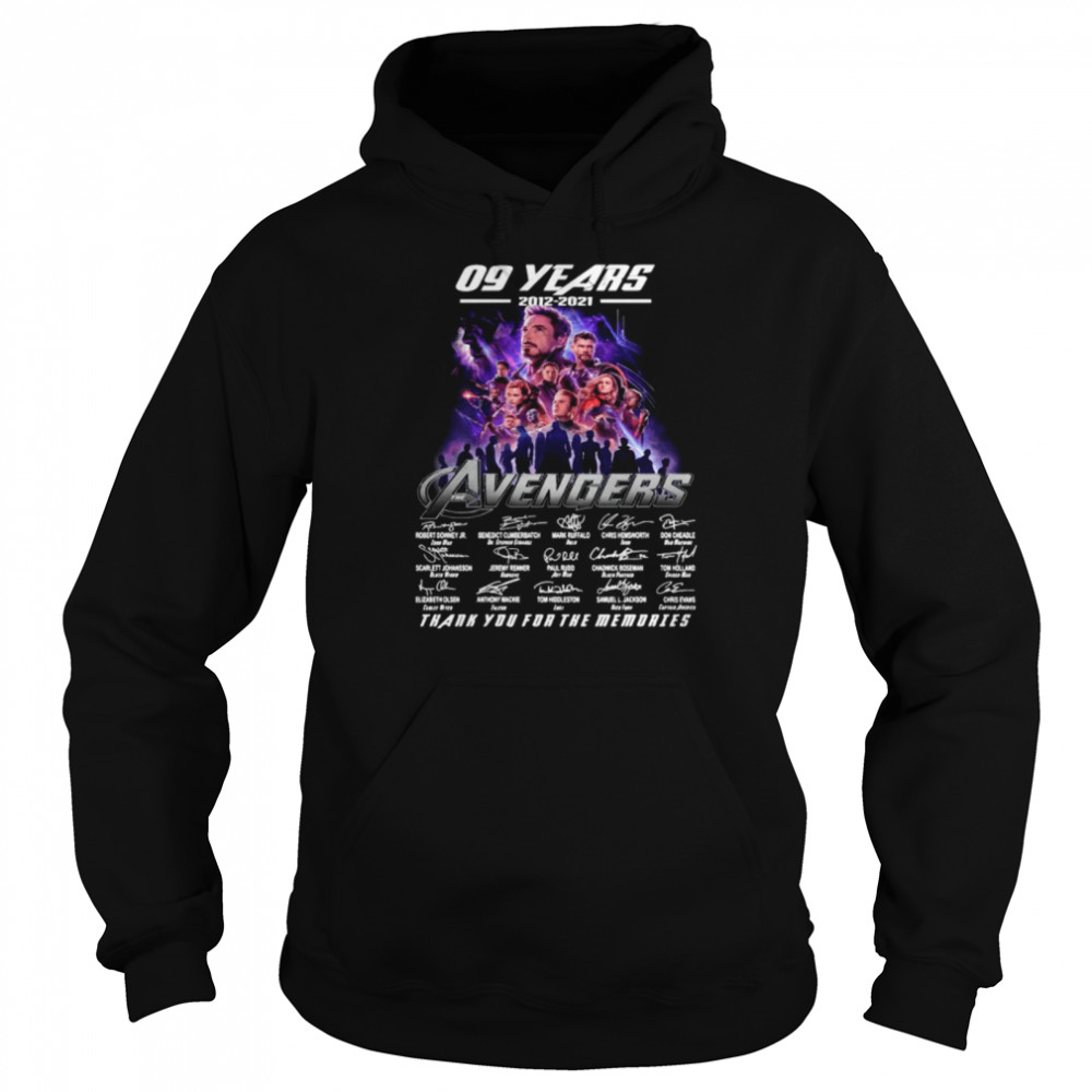Marvel Avengers 09 Years 2012 2021 Signatures Thanks For The Memories shirt Unisex Hoodie
