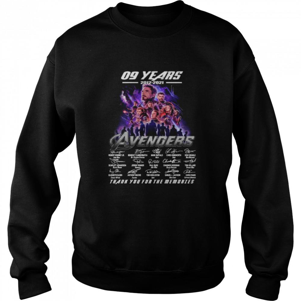 Marvel Avengers 09 Years 2012 2021 Signatures Thanks For The Memories shirt Unisex Sweatshirt