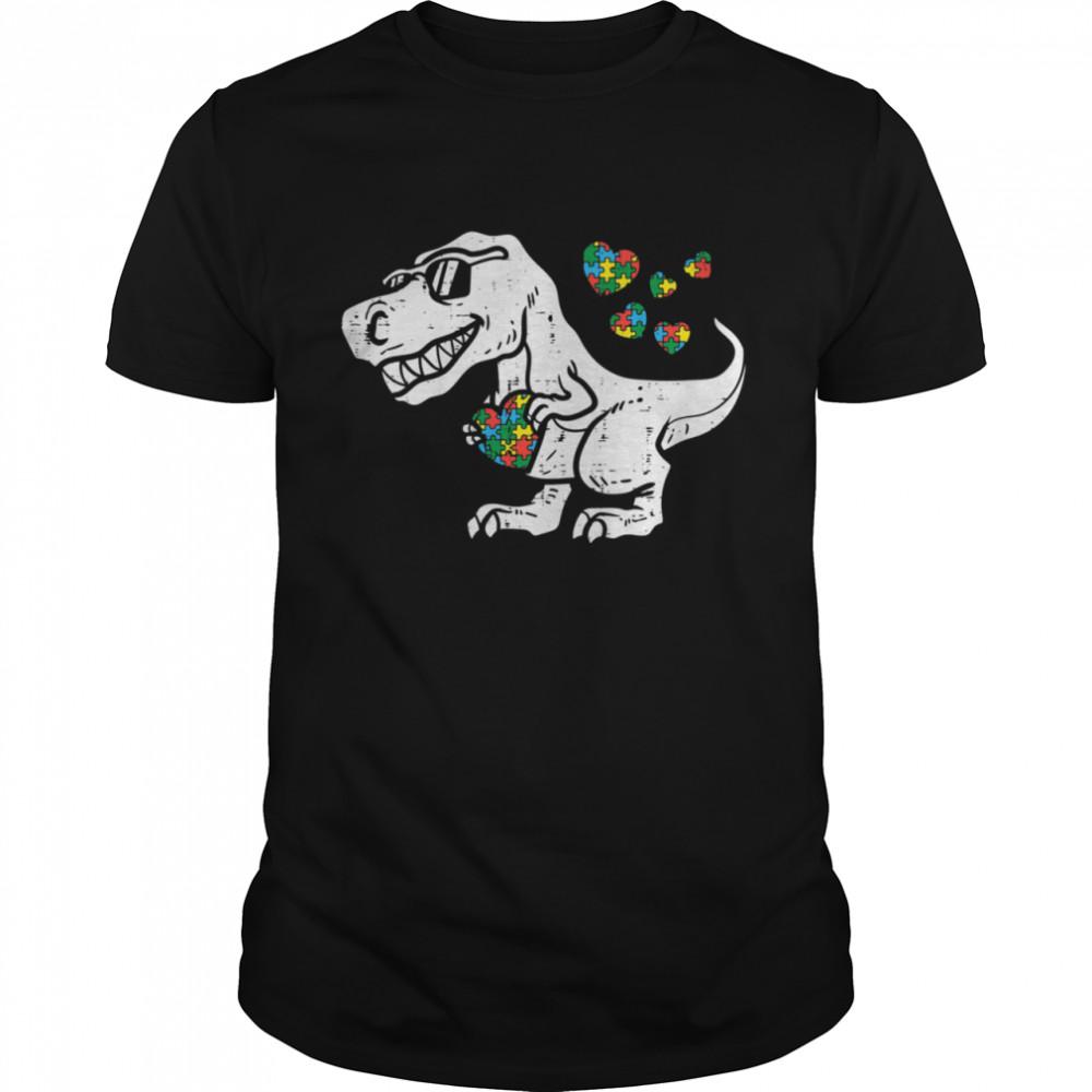 Trex Dinosaur Puzzle Dino Autism Awareness Toddler Boys shirt