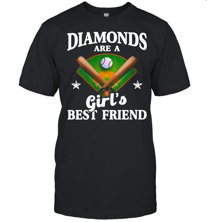 Baseball Softball Diamonds Are A Girl's Best Friend Shirt