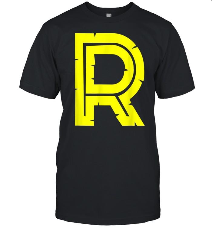 R Yellow Alphabet Monogram Initials shirt