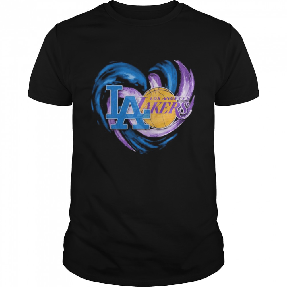 Heart Dodgers And Lakers For Life Football Shirt
