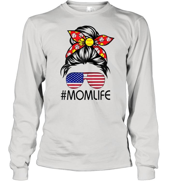 Life Softball Baseball Mothers Day Messy Bun  Long Sleeved T-shirt