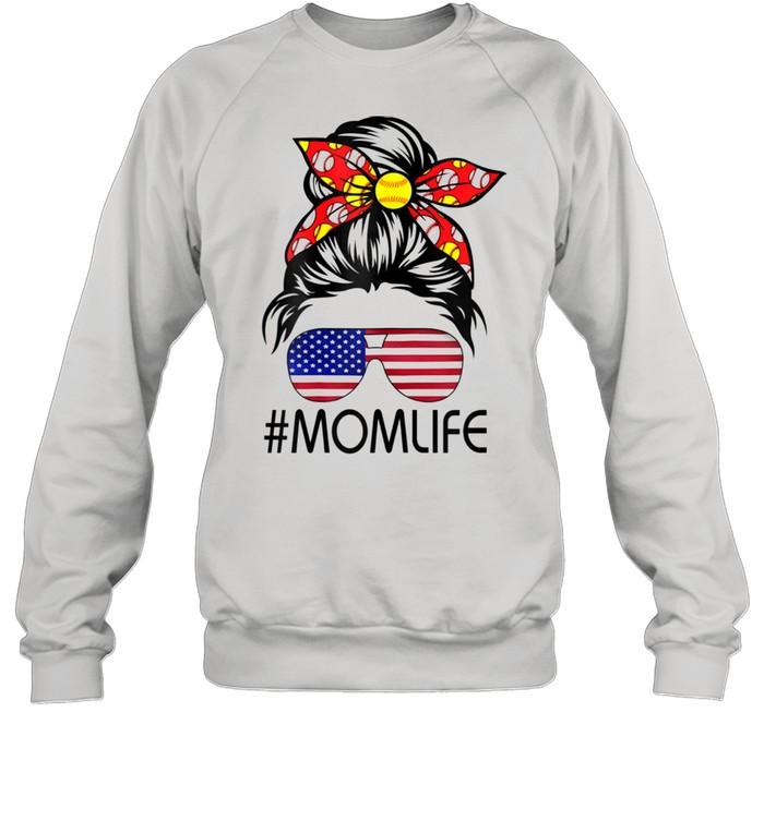 Life Softball Baseball Mothers Day Messy Bun  Unisex Sweatshirt