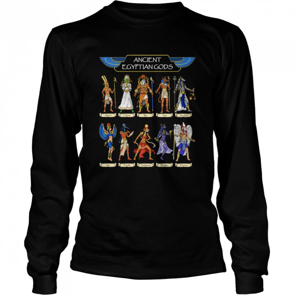 Egyptian Gods Ancient Mythology Pharaoh Anubis Thoth Horus  Long Sleeved T-shirt