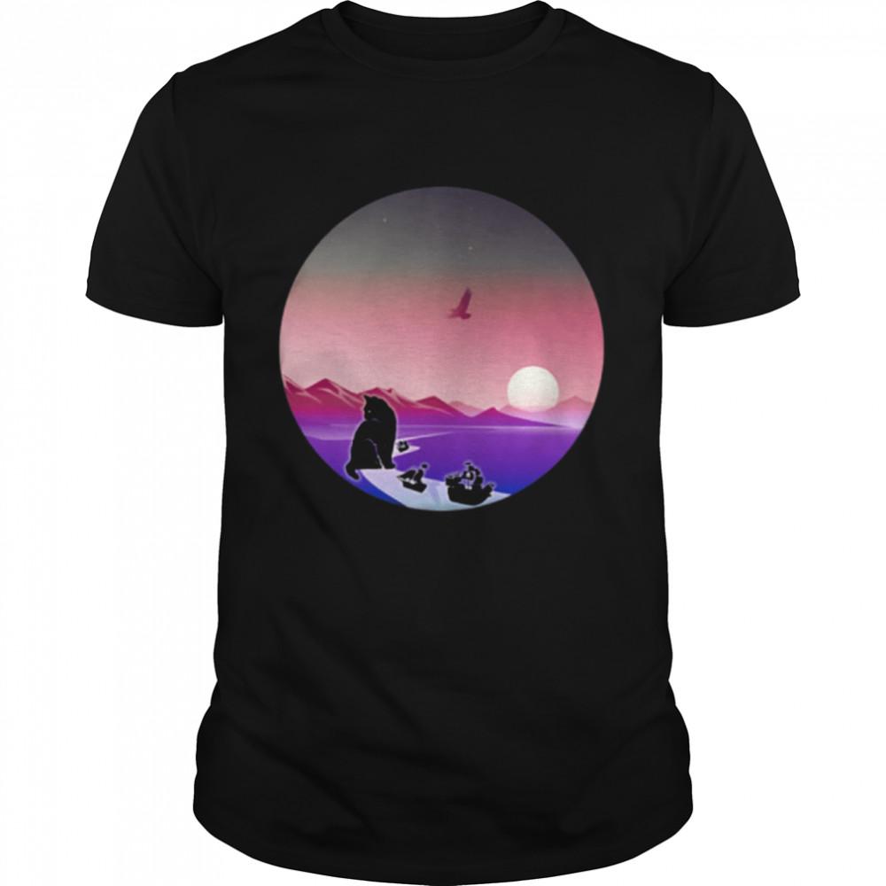 Cat Blocking Suez Canal Pirate Ships Boats Kitty Meme Circle shirt