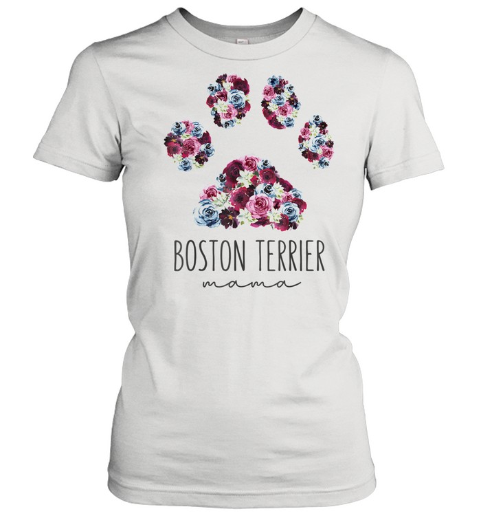 Boston Terrier Mama Floral Paw Dog Mom  Classic Women's T-shirt