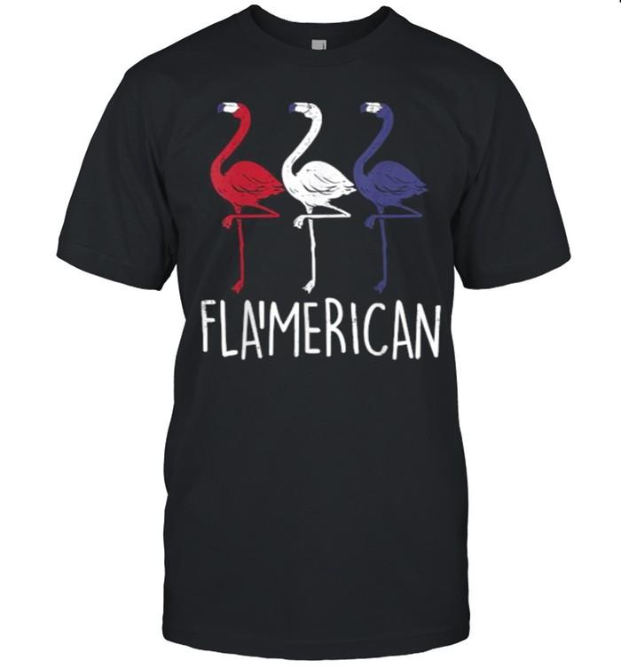 Flamerican Flamingo US American Flag 4th July T-Shirt