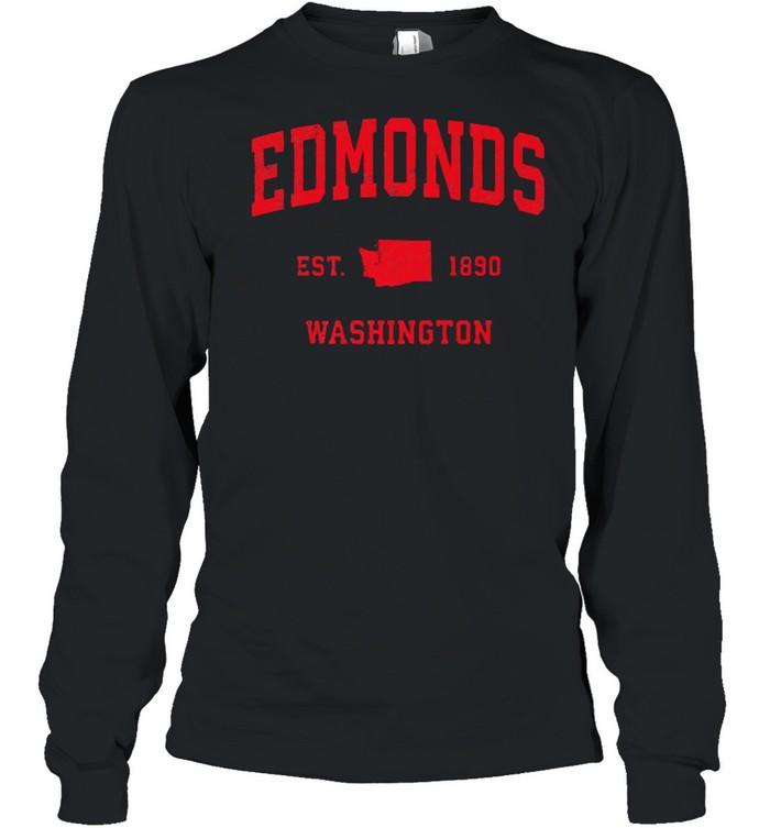 Edmonds Washington WA Est 1890 Vintage Sports T- Long Sleeved T-shirt